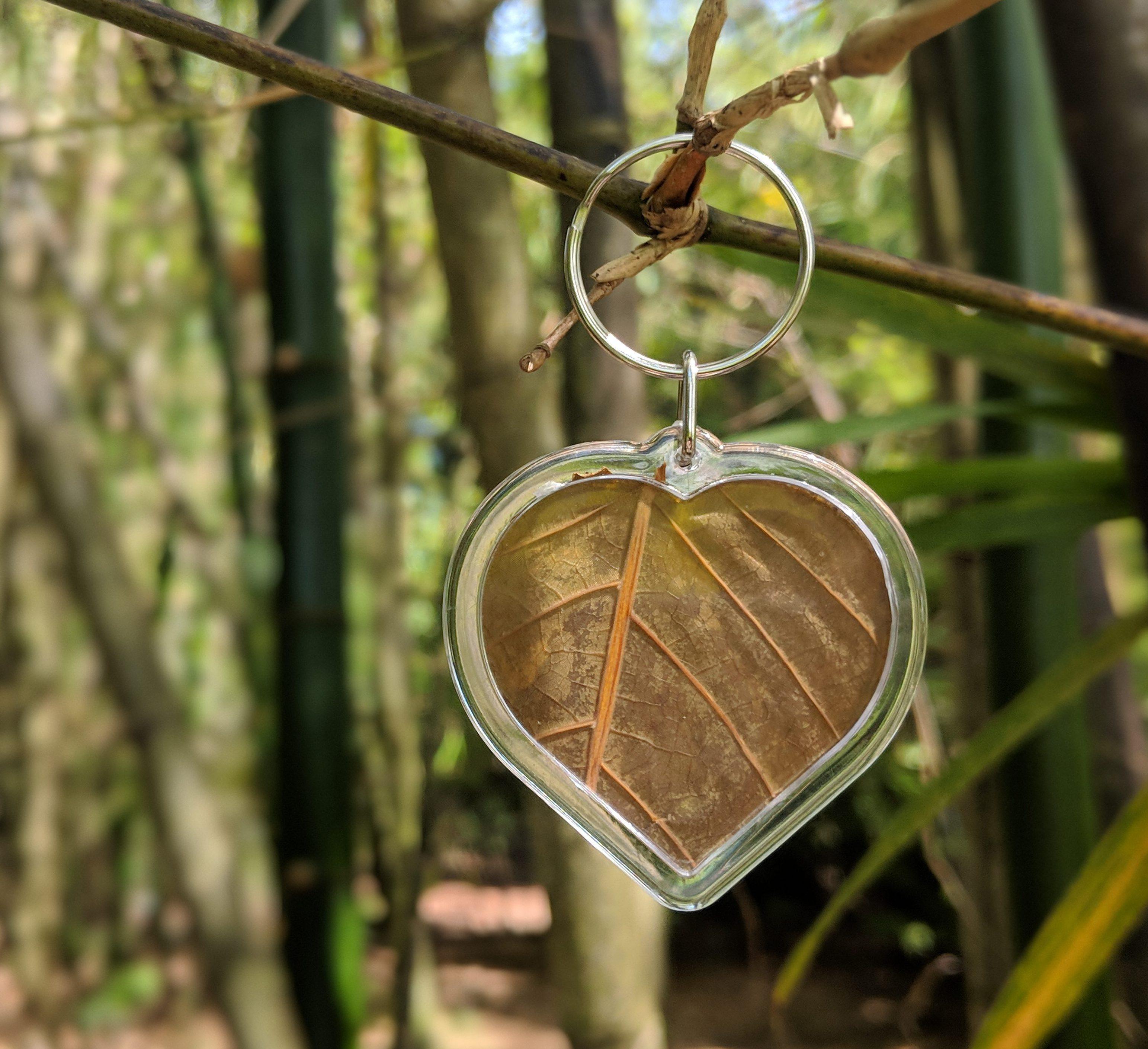 Encased Kratom Leaf Heart Keychain
